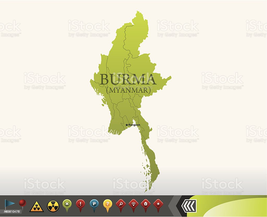 Burma(Myanmar) map with navigation icons royalty-free stock vector art