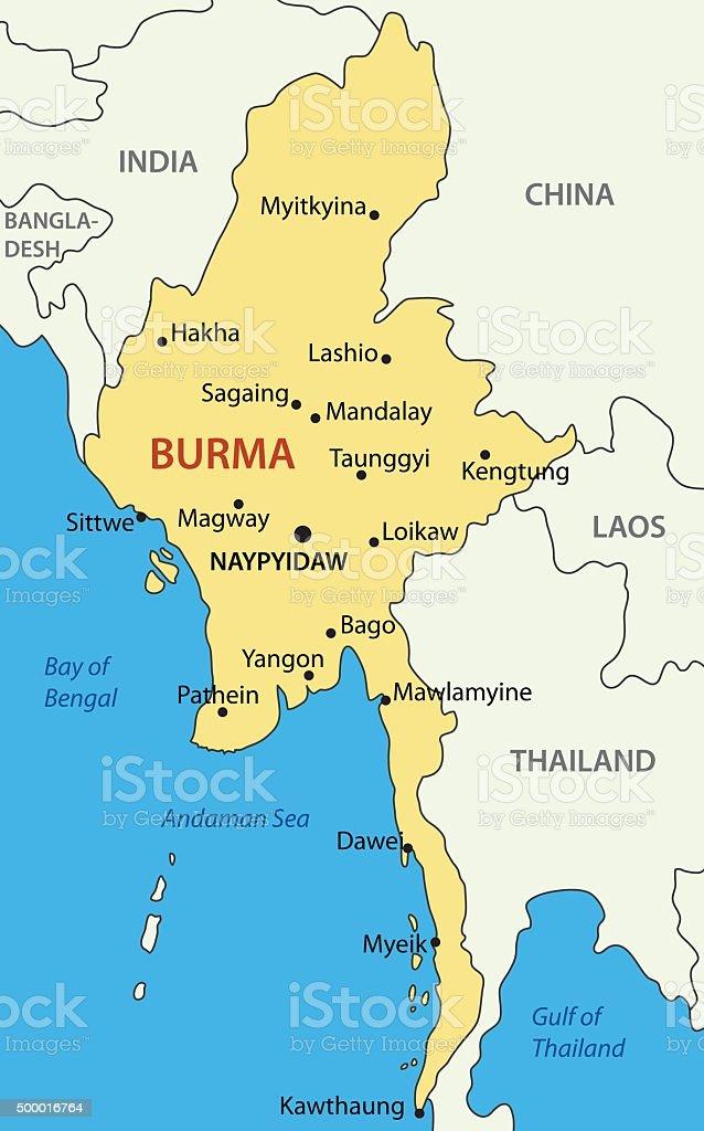 Burma - vector map vector art illustration