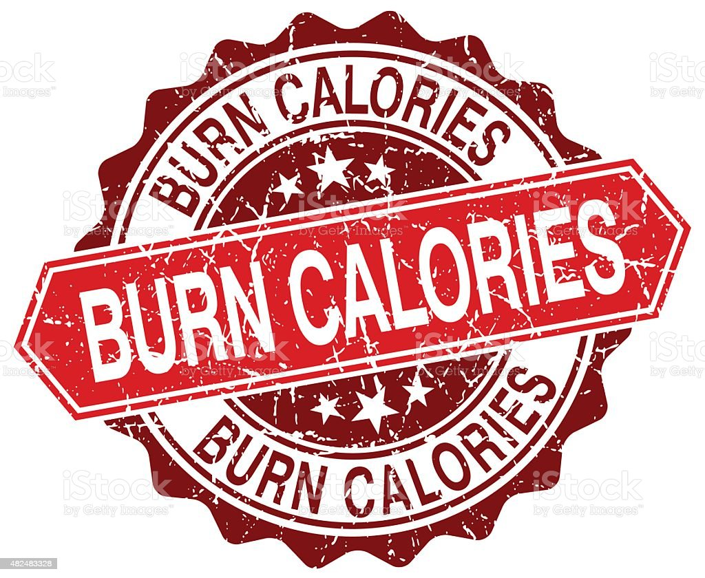 burn calories red round grunge stamp on white vector art illustration
