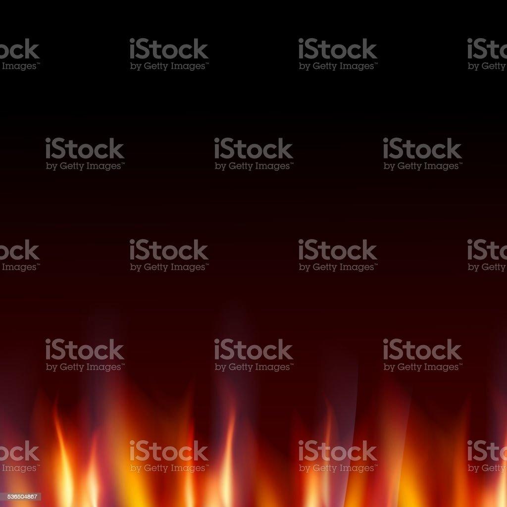 Burn flame fire dark background. vector art illustration