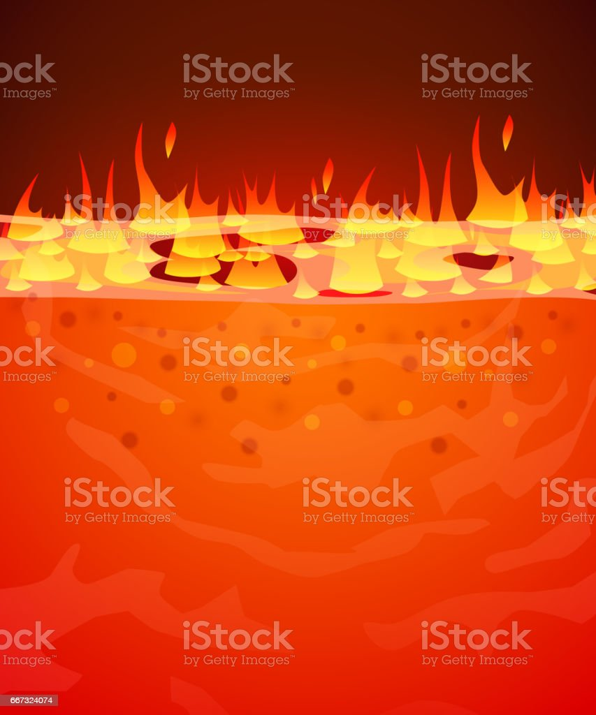 Burn flame fire vector background. Hell, lava or molten steel concept. vector art illustration