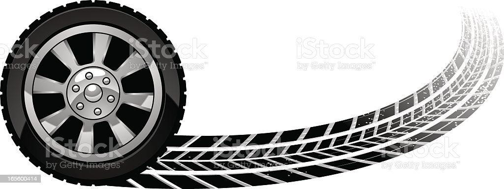 burn out wheel vector art illustration