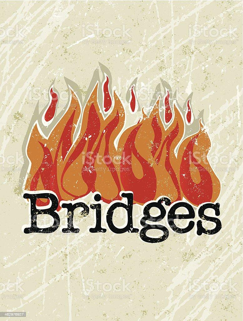 Burning Bridges Text on Fire royalty-free stock vector art