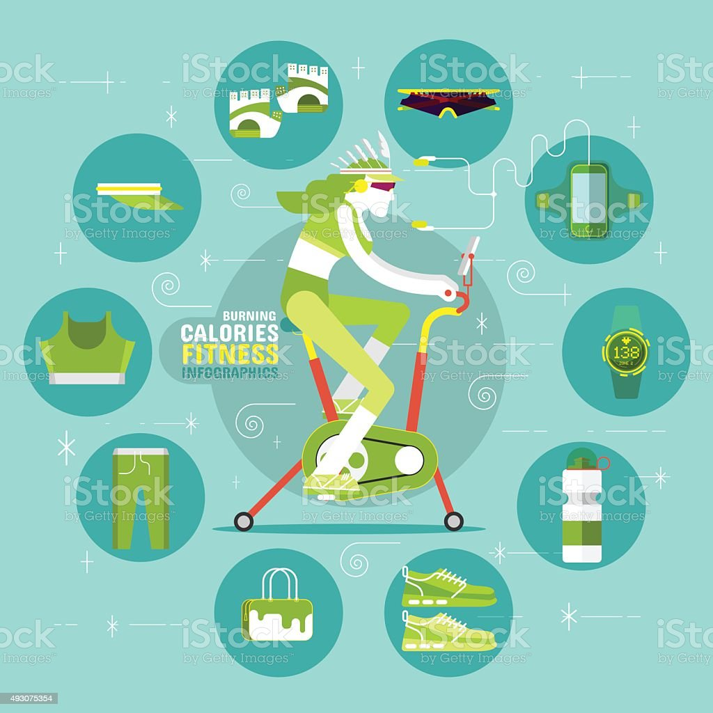 Burning Calories Fitness Infographics vector art illustration