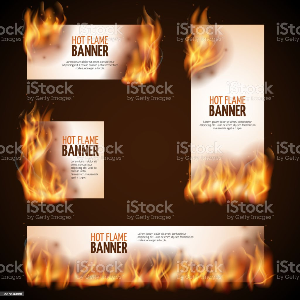 Burning campfire with hot flame vector banners vector art illustration