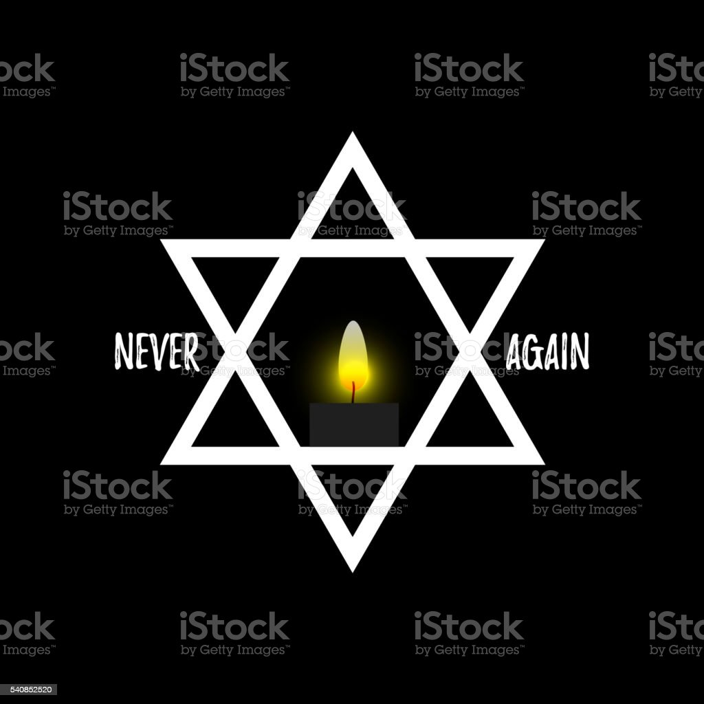 Burning candle and the Star of David vector art illustration