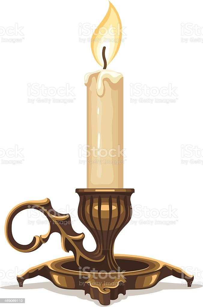 Burning candle in bronze candlestick vector art illustration