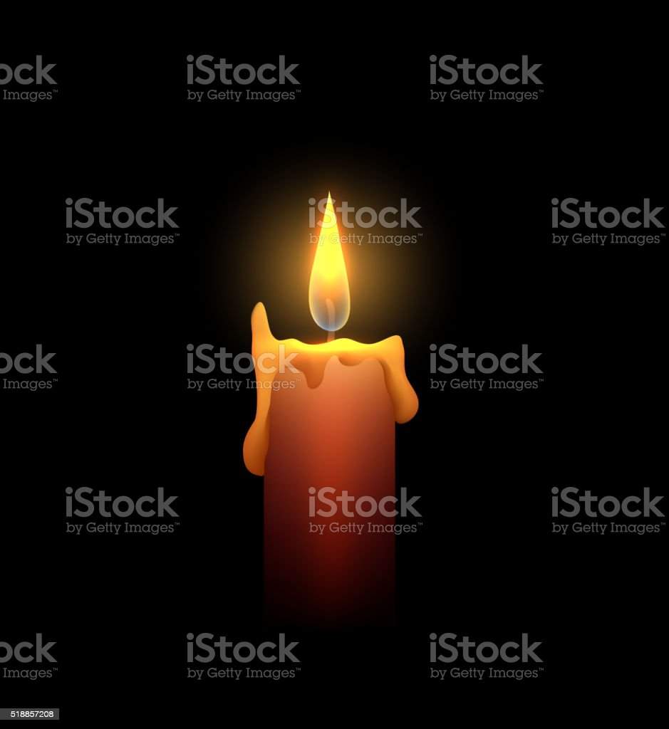 Burning candle in the dark. Vector element for your creativity vector art illustration