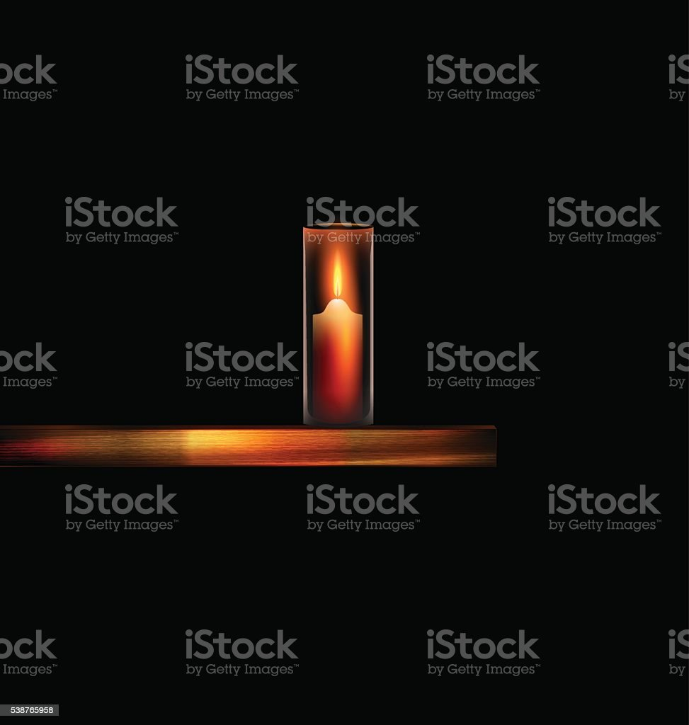 burning candle with wooden stand vector art illustration