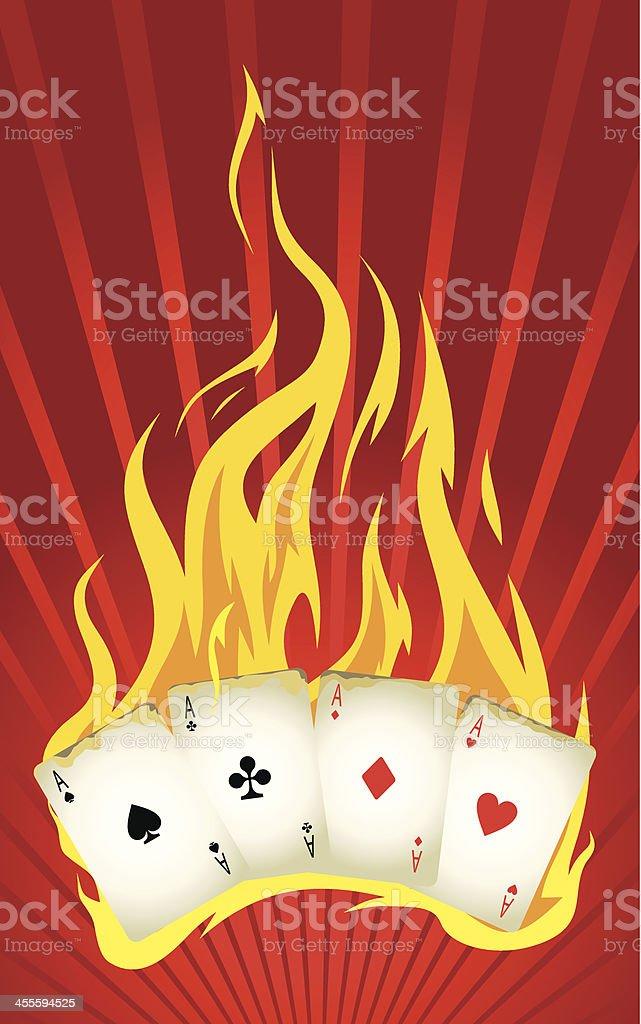 Burning cards royalty-free stock vector art