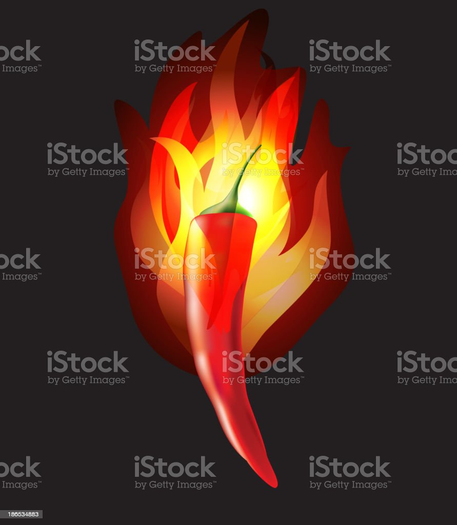 Burning chilli pepper on black background royalty-free stock vector art