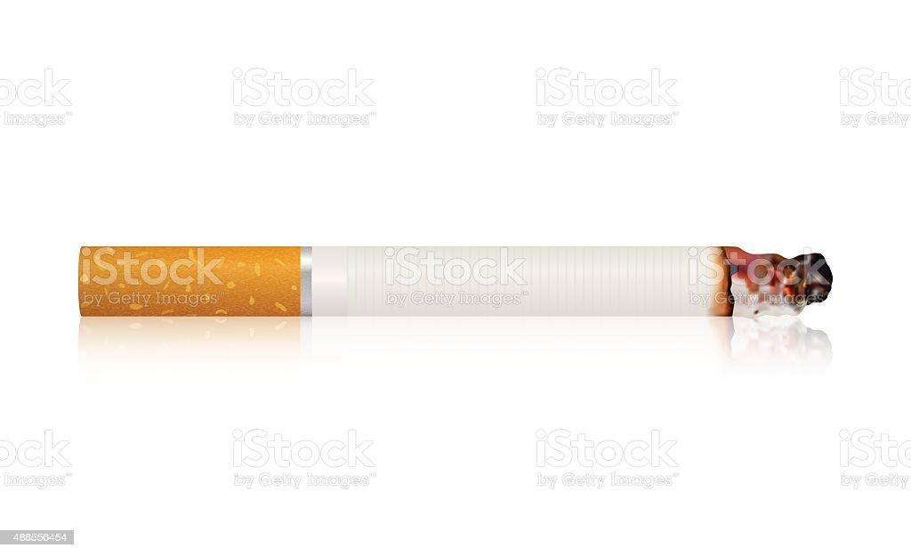 Burning cigarette . vector art illustration