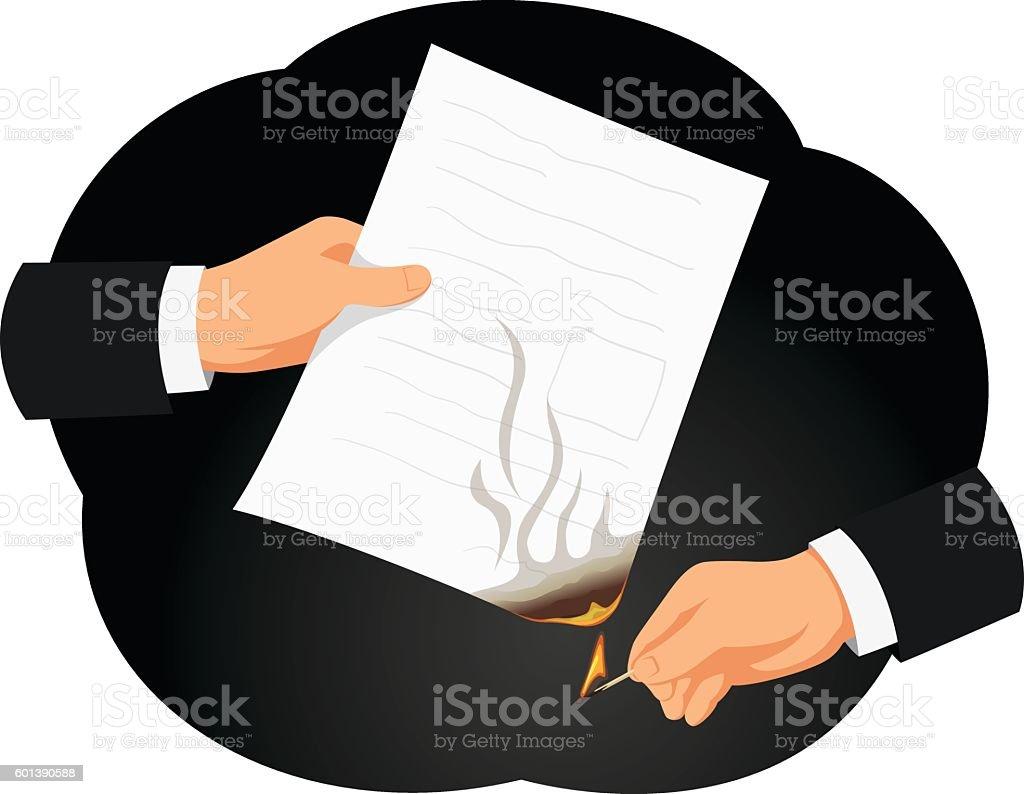 Burning contract vector art illustration