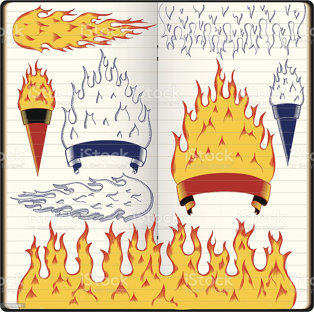 burning doodles royalty-free stock vector art