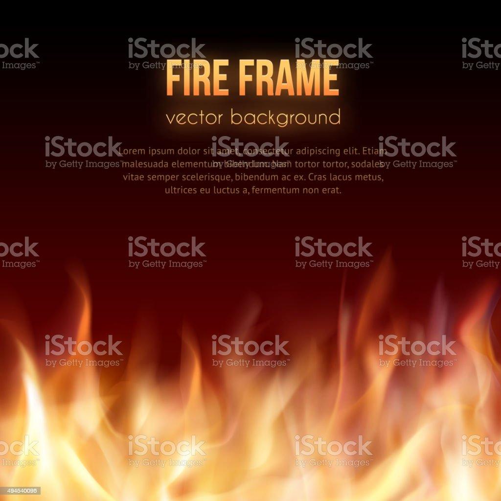 Burning fire frame. Vector Fiery Background vector art illustration