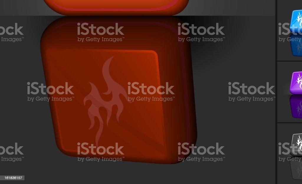 Burning Flame 3D button design royalty-free stock vector art