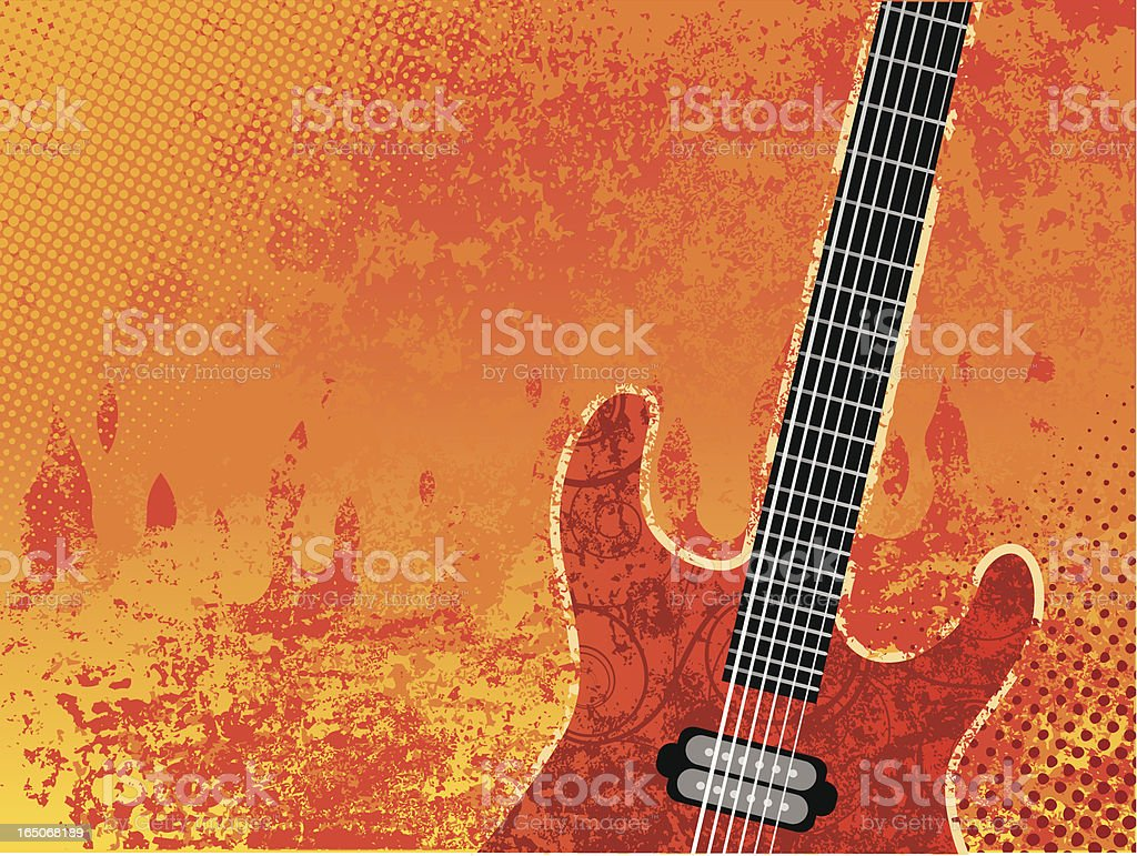 Burning guitar vector art illustration