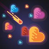 Burning heart speeding through galaxies in space