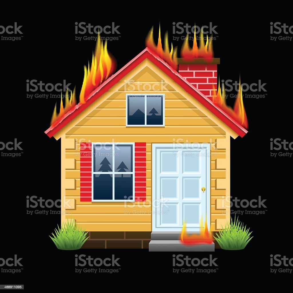 Burning house vector art illustration