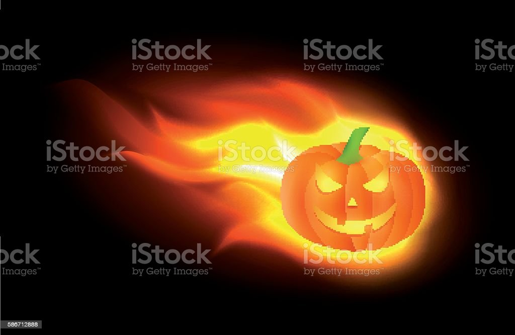 Burning Jack o lantern vector art illustration