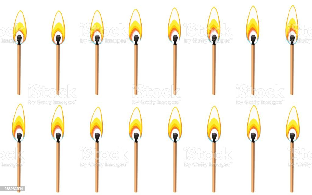 Burning match animation sprite isolated on white background vector art illustration