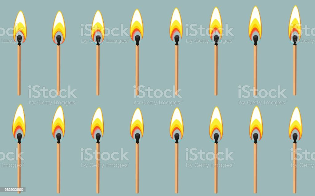 Burning match animation sprite on gray background vector art illustration