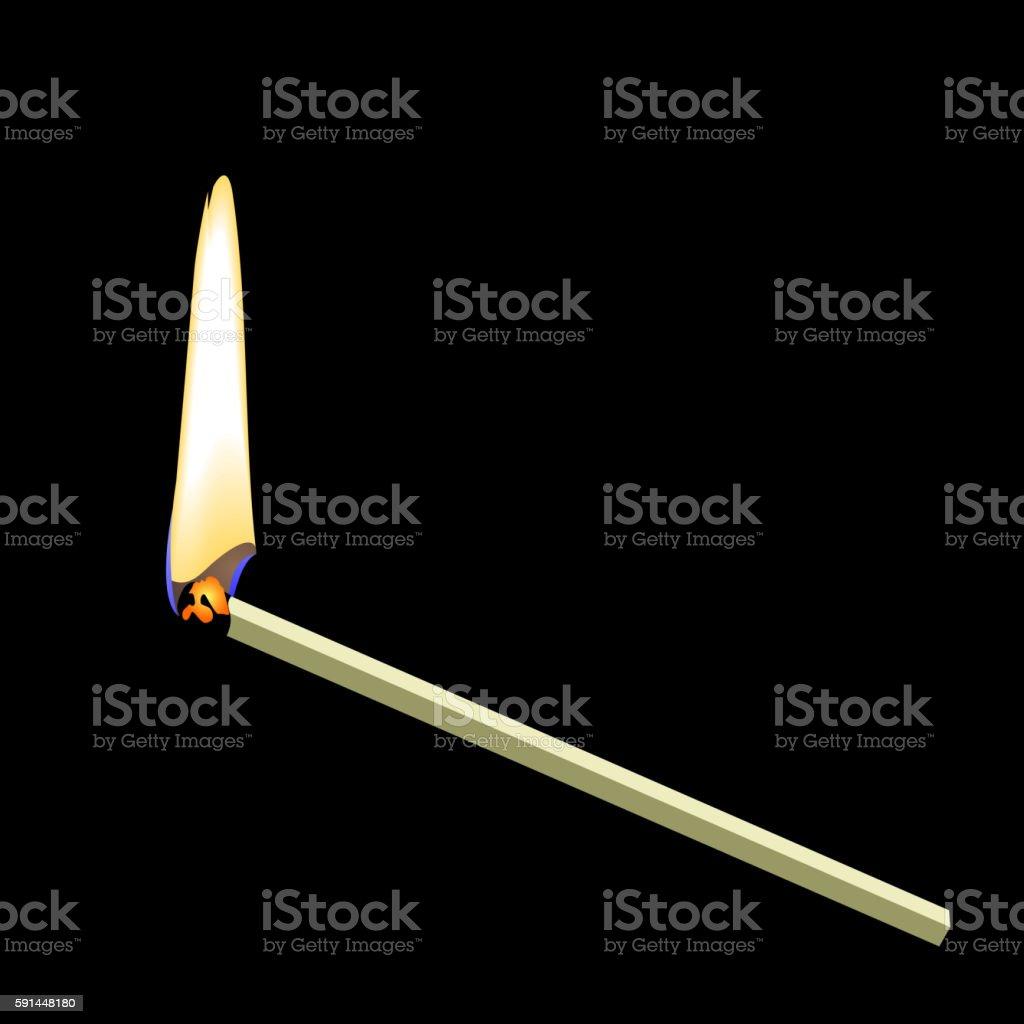 Burning matchstick on black background vector art illustration