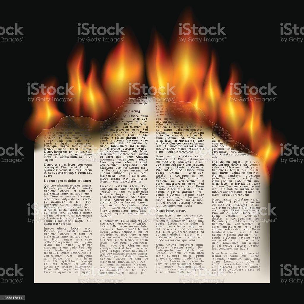 burning newspaper vector art illustration