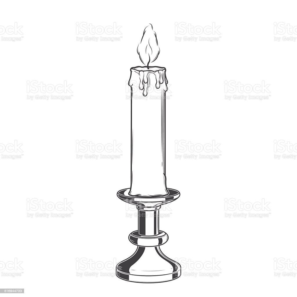 Burning Old Candle vector art illustration