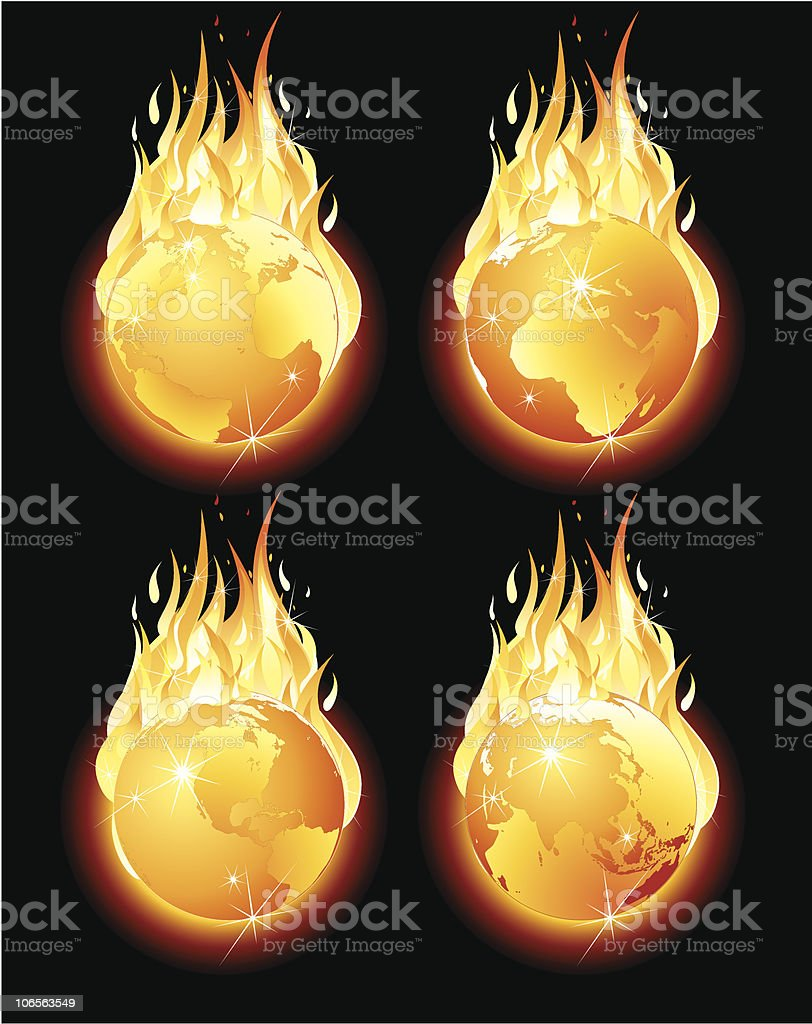 Burning planet vector art illustration