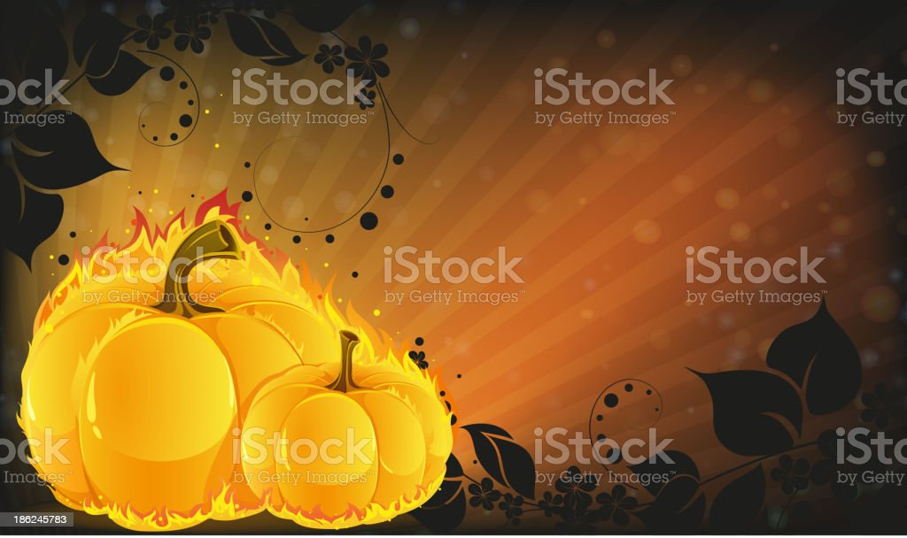 Burning pumpkins on radiant background royalty-free stock vector art
