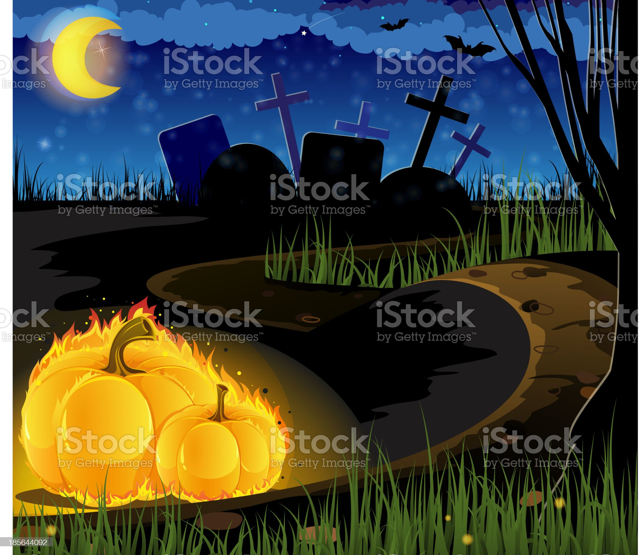 Burning pumpkins on the old cemetery royalty-free stock vector art