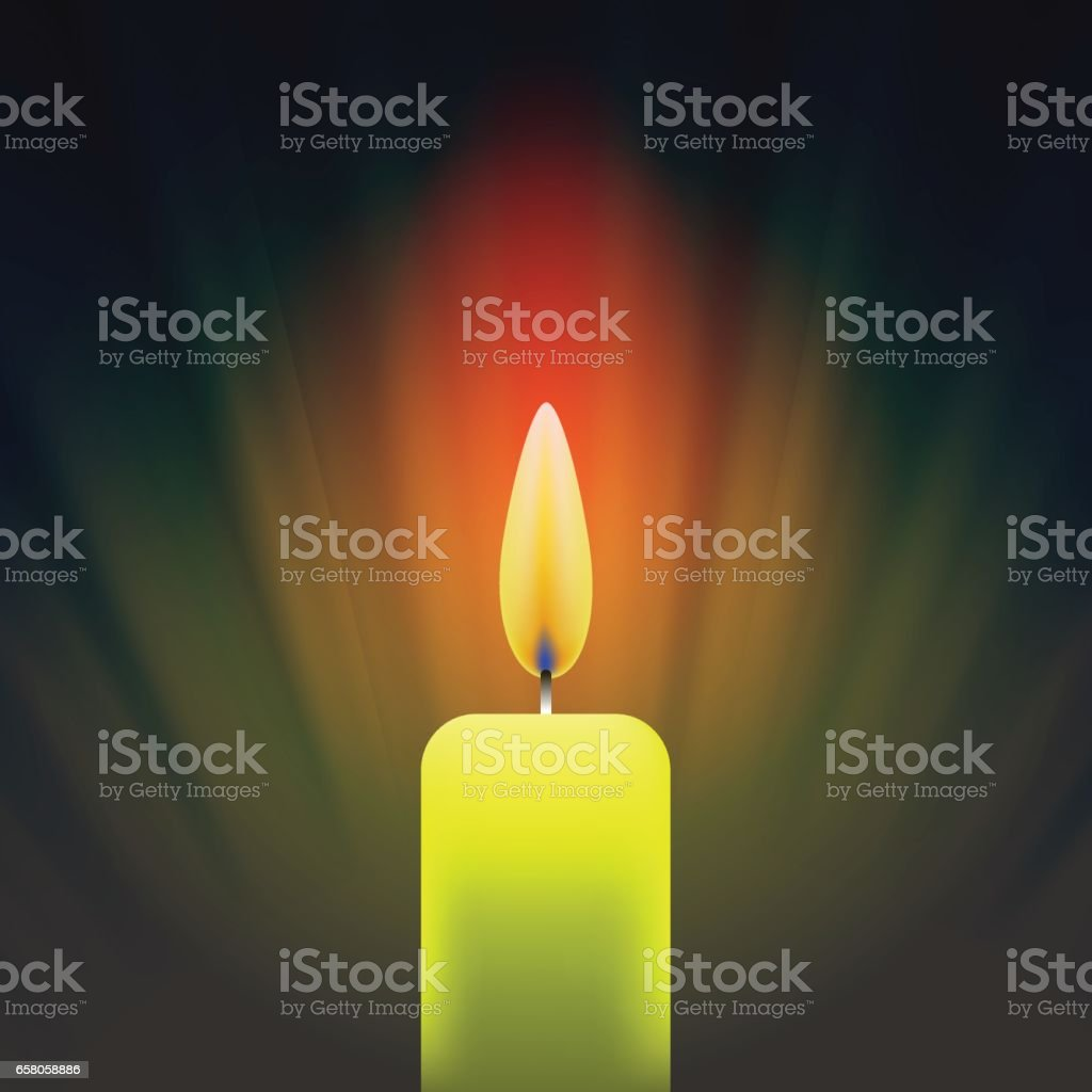 Burning Single Yellow Candle vector art illustration