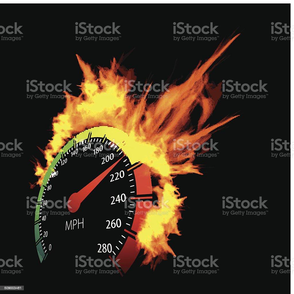 Burning speedometer vector art illustration