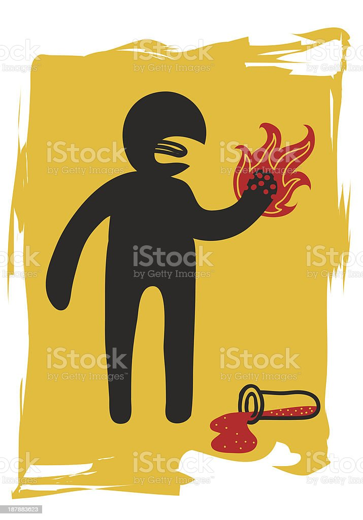 burning the hand with corrosive liquid royalty-free stock vector art
