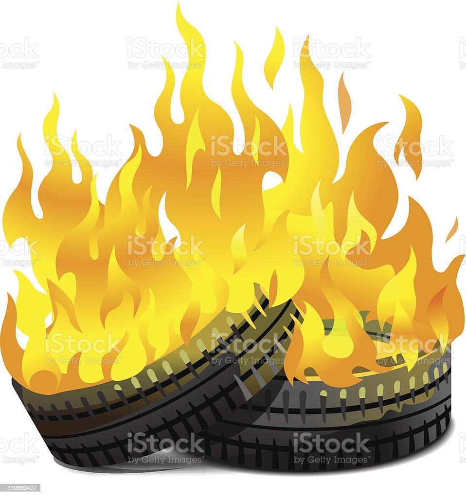 Burning tires vector art illustration