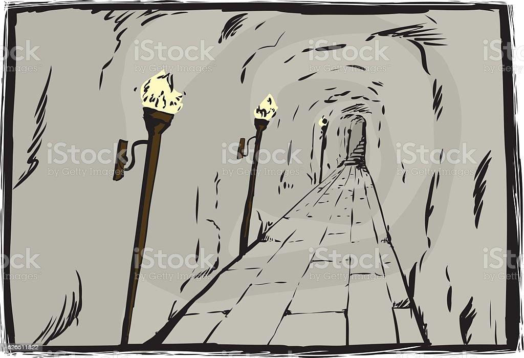 Burning torches in underground passage vector art illustration