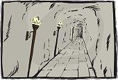 Burning torches in underground passage