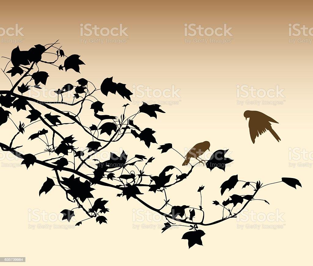 Burnt Paper Birds vector art illustration