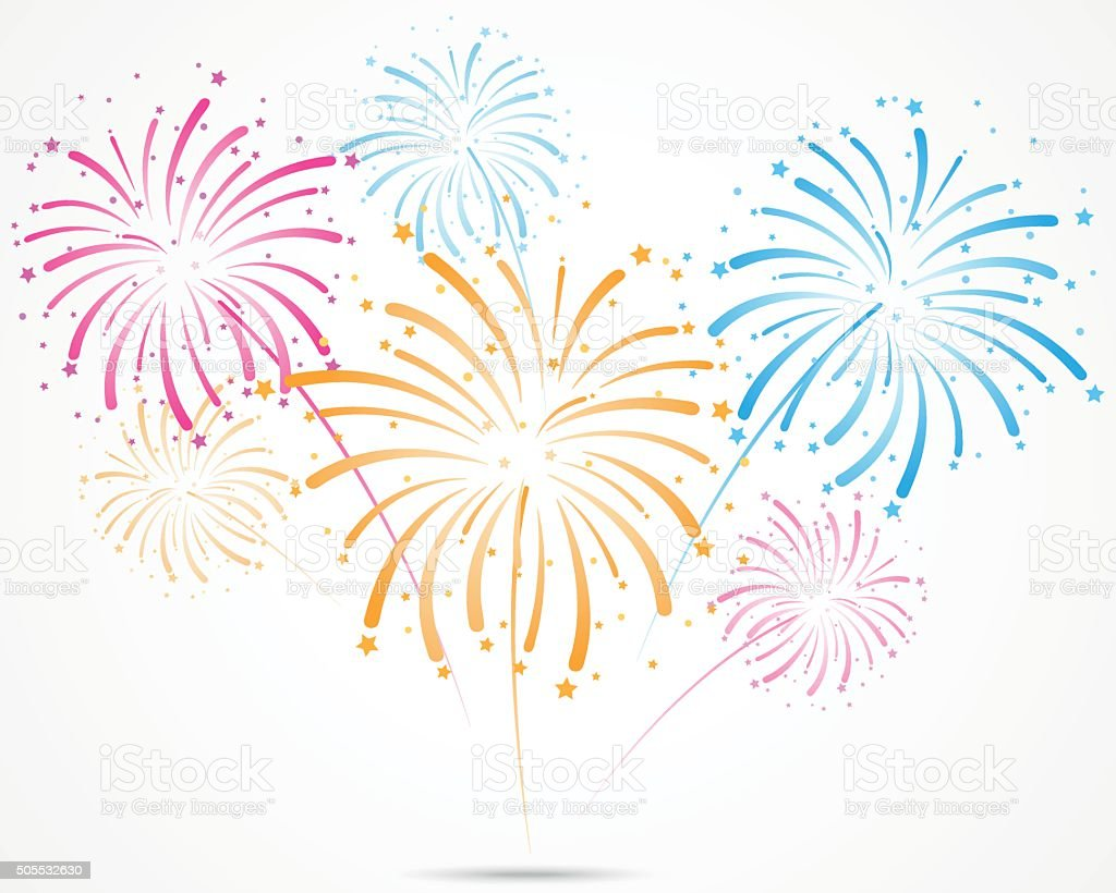 bursting fireworks with stars and sparks vector art illustration