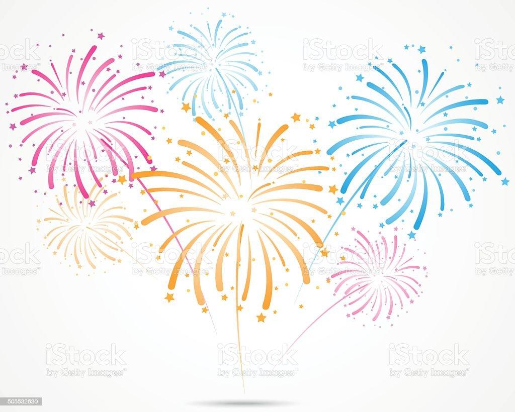 bursting fireworks with stars and sparks vector art illustration