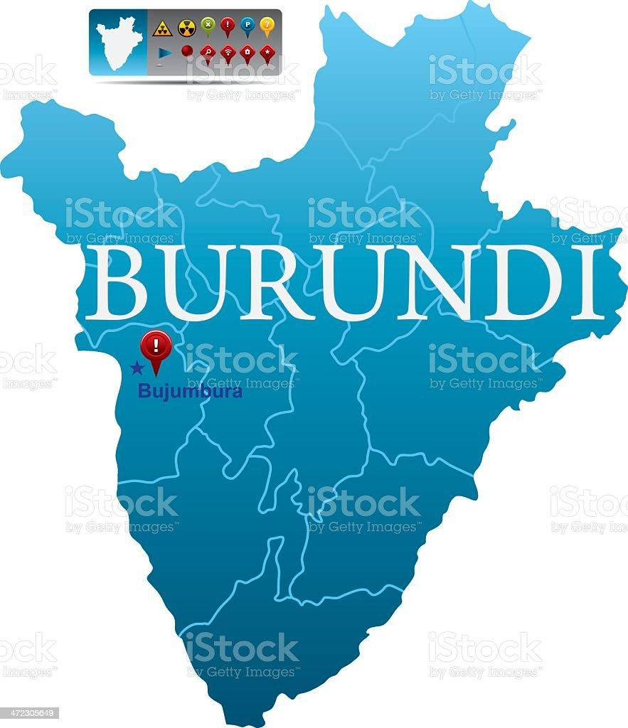 Burundi map with navigation icons royalty-free stock vector art