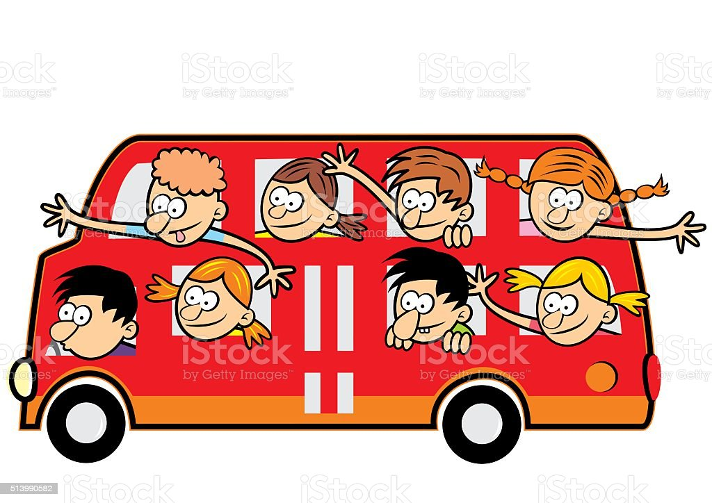 bus and funny kids vector art illustration