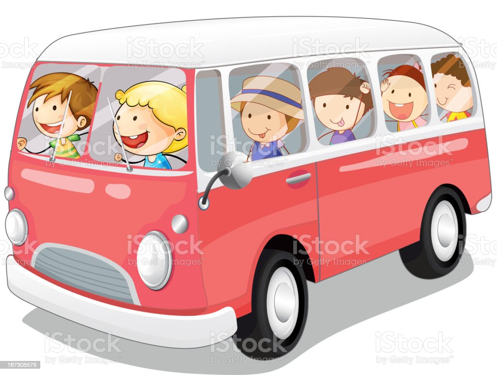 Bus and kids royalty-free stock vector art