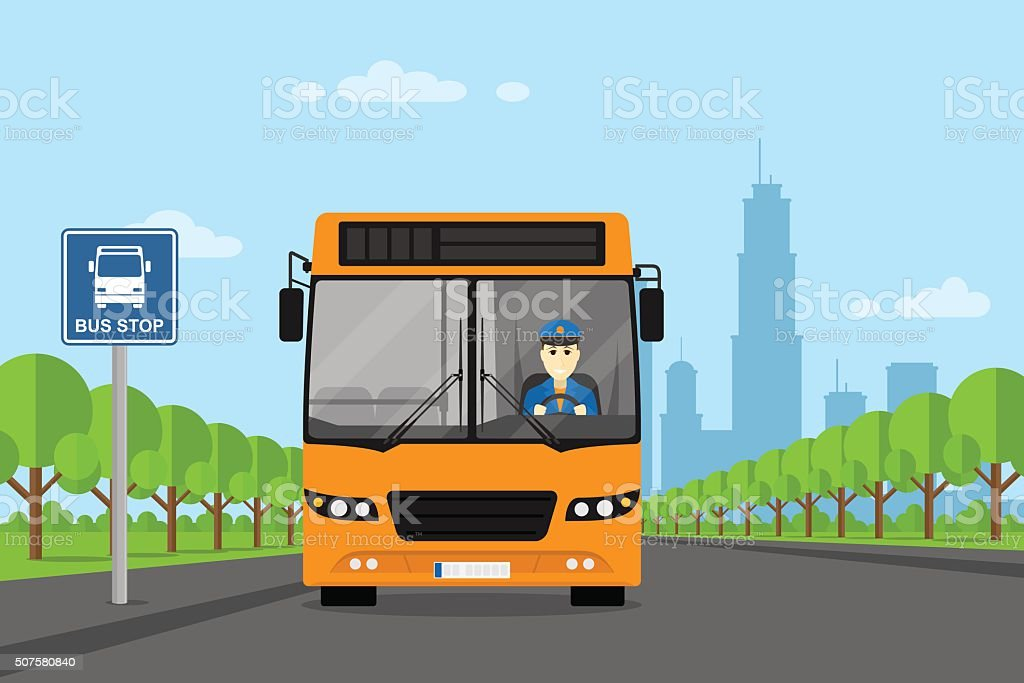 bus driver picture vector art illustration