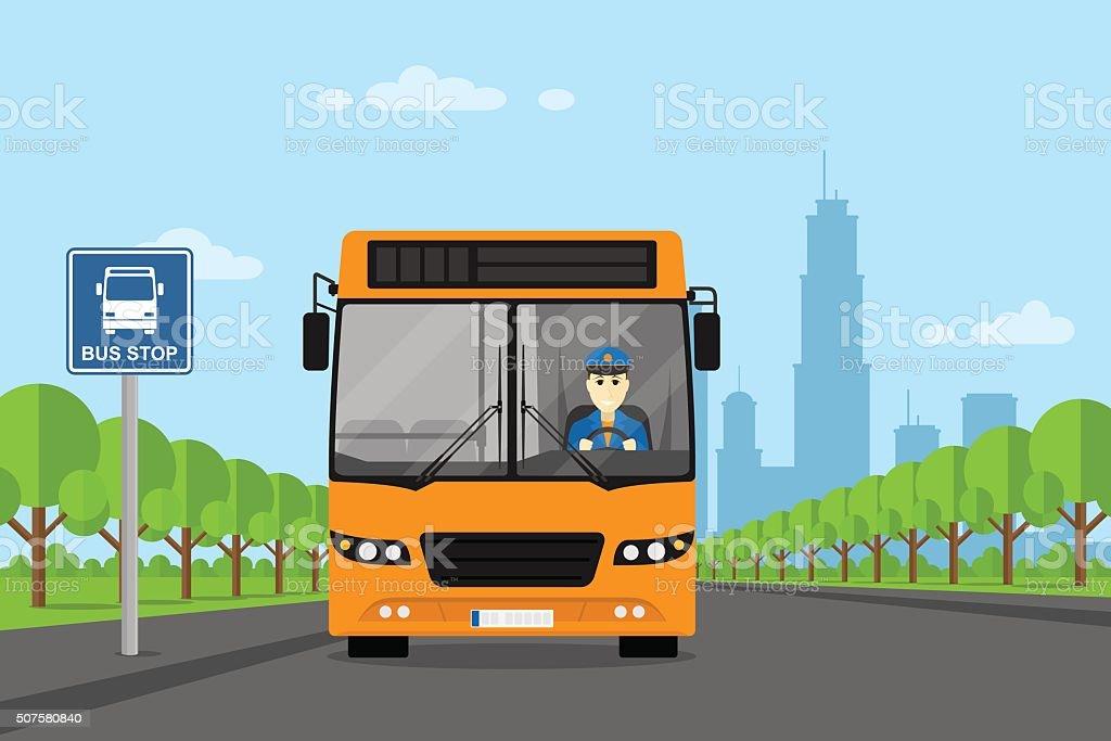 bus driver picture vector art illustration