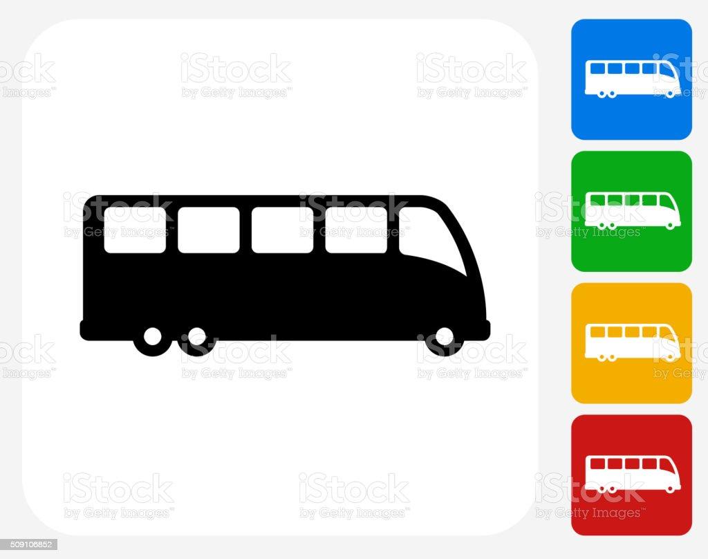 Bus Icon Flat Graphic Design vector art illustration