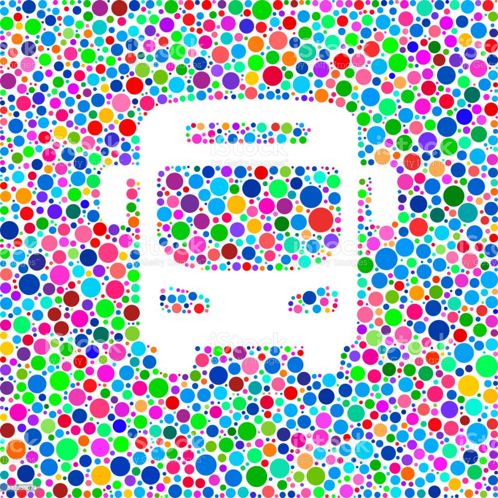 Bus Icon on Color Circle Background Pattern vector art illustration
