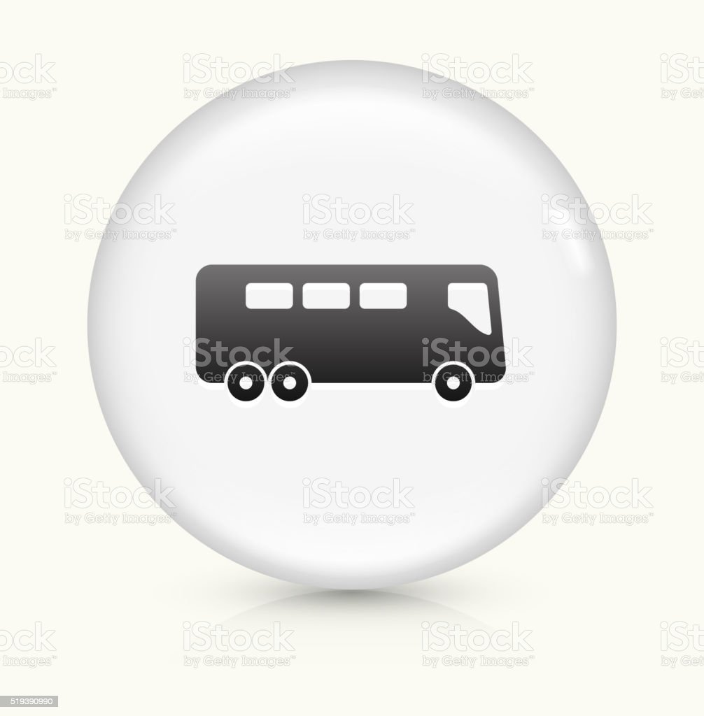 Bus icon on white round vector button vector art illustration