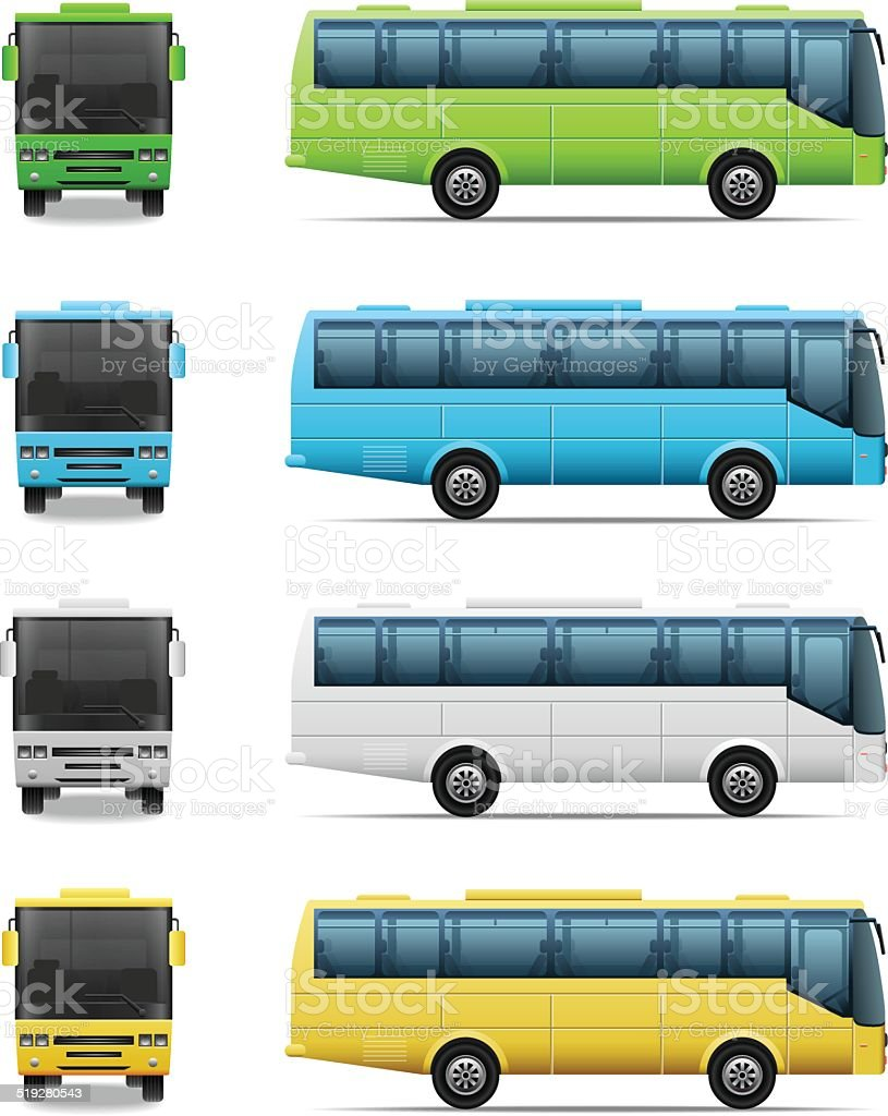 Bus icon set vector art illustration